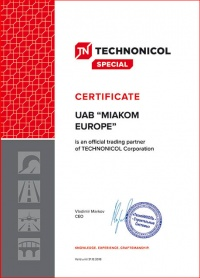 The company has received the certificate as an official trading partner of Technonicol company.
